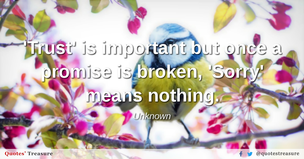 'Trust' is important but once a promise is broken, 'Sorry' means nothing.