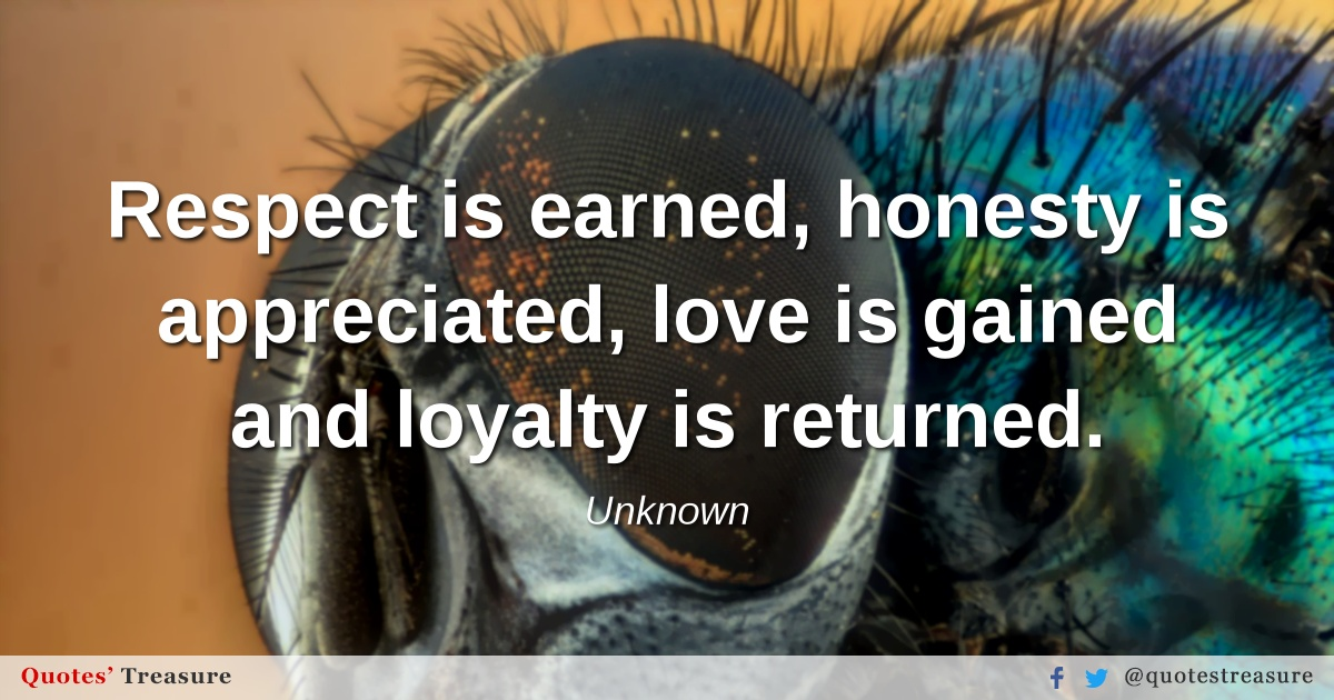 Respect is earned, honesty is appreciated, love is gained and loyalty is returned.