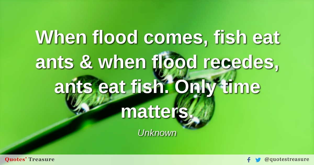 When flood comes, fish eat ants & when flood recedes, ants eat fish. Only time matters.