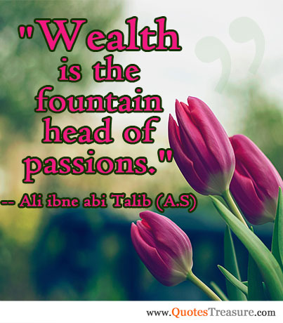 Wealth is the fountain head of passions.