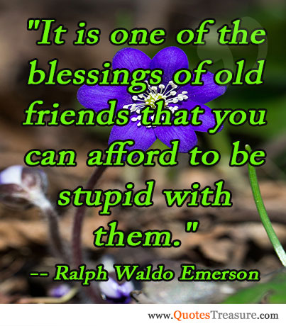 It is one of the blessings of old friends that you can afford to be stupid with them.