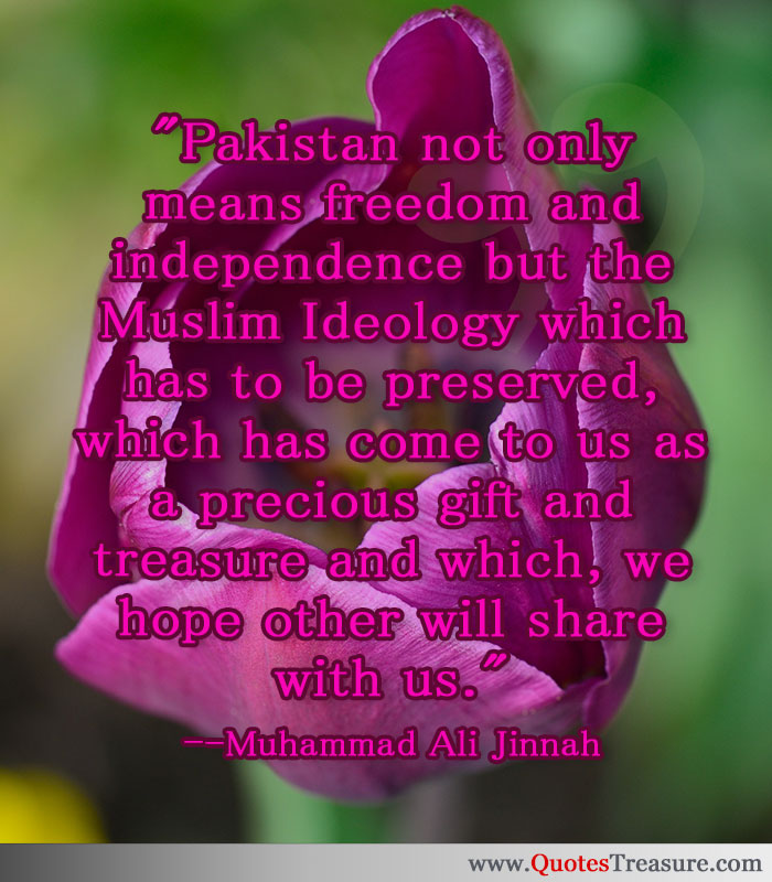 Pakistan not only means freedom and independence but the Muslim Ideology which has to be preserved, which has come to us as a precious gift and treasure and which, we hope other will share with us.