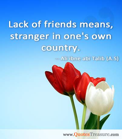 Lack of friends means, stranger in one's own country.